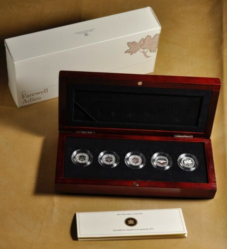 2012 Canada Farewell to the Penny Set of Five Silver One Cent Coins