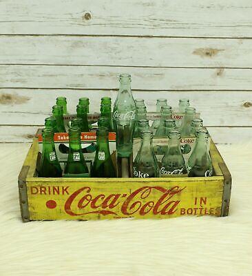 Vintage Yellow Coca Cola Wood Crate Chattanooga Coke And 7up Bottles Bundle
