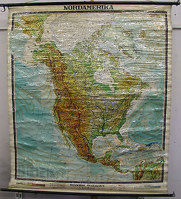 Schulwandkarte Wall Map Map Map North America America USA 153x174 Canada 60er