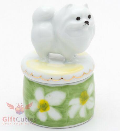 Beautiful Gzhel Porcelain trinket Box Pomeranian Spitz dog Figurine hand painted