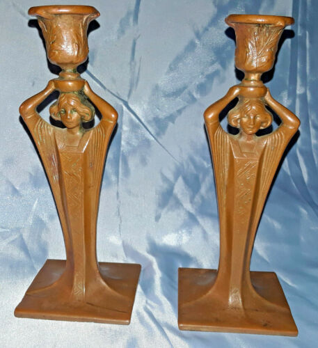 1890 French Maiden Nouveau Bronze Candlestick Pair Signed/Numbered/Foundry 829