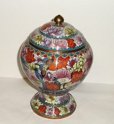 CLOISONNE ENAMEL FLORAL BUTTERLY & BIRDS COMPOTE CANISTER JAR BOWL BOX