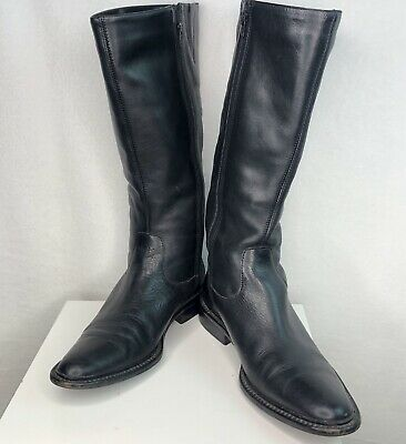 Eddie Bauer Tall Boots Womens 7 Black Leather Stretch Gussets Zip 1 Inch Heel