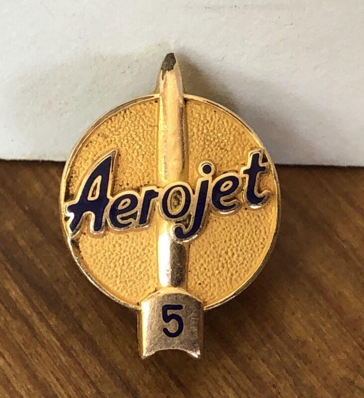 Vintage Aerojet Rocketdyne Apollo  5 Year Service Lapel Pin 10K Gold Fill