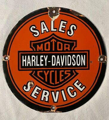 """Vintage Porcelain Harley-Davidson Motorcycle Sales & Service 11 3/4"""" Enamel Sign"""