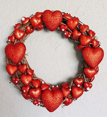 Valentines Decor (Valentines Day Decor Ornament Wreath 15 Inch Handmade Red With)