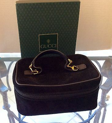 GUCCI Cosmetic Case Iconic Suede/PVC/Leather trim AUTH VG Rare Collectors issue (Gucci Return)