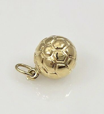 Solid 14K Yellow Gold Soccer Ball Puffy 3D Pendant/Charm, New, 0.6gr  Gold 3d Globe Charm