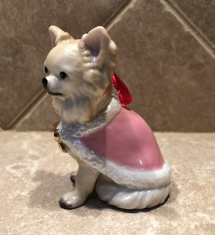 DNC Fine Porcelain Chihuahua Dog In Pink Cape Ornament