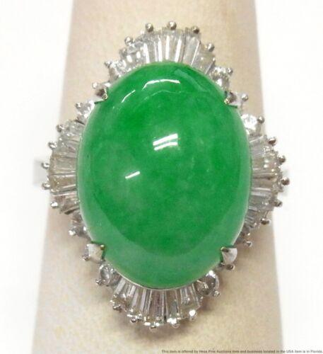 Heavy 18k White Gold Natural Type A Jadeite Jade Diamond Retro Ring w Lab Report