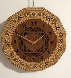 Luxury Arabic Numerals Clock, Handmade Inlaid Wooden Round Wall Clock.