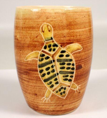 ESSEXWARE Vtg Australian Pottery Aboriginal Art TURTLE Boomerang RARE Cup Vase