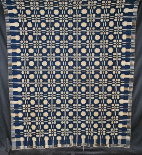 Antique Jacquard Coverlet, 1850s Indigo Blue and White Wool Bedcover