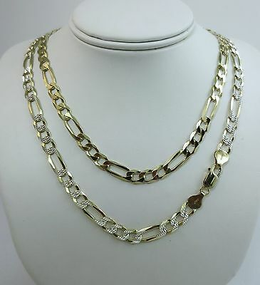 7mm Figaro Pave Chain. Vermeil Gold over Sterling Silver 2 ton, 20,22,24,30 Inch - Gold Pave Figaro Chain