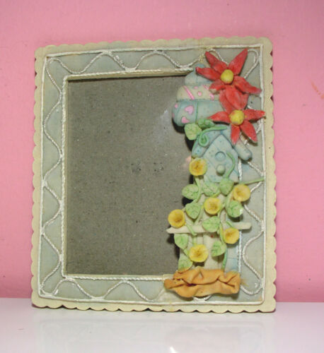 Vintage Ceramic Photo Frame Nice Floral Design Size 6 X 4 inches New ExcCond.