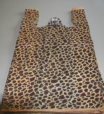 200 Leopard Print Design Plastic T-shirt Retail Shopping Bags Handles 11.5x6x21