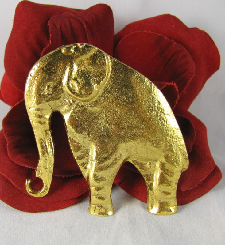 Vintage Gold tone Elephant  Pin Brooch  FERAL CAT RESCUE