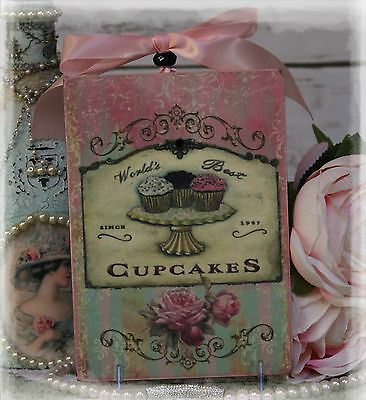 """""""THE Mankind'S BEST CUPCAKES"""" Shabby Chic Country Cottage style ~ Wall Decor Sign"""