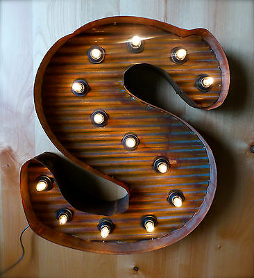 Lg Brown Vintage Style Light Up Marquee Letter S 24 Tall Metal Rustic Sign