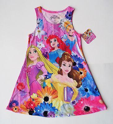 Disney Princess Rapunzel Ariel Cinderella Belle Girls Lightweight Knit Sundress (Disney Princess Sundress)