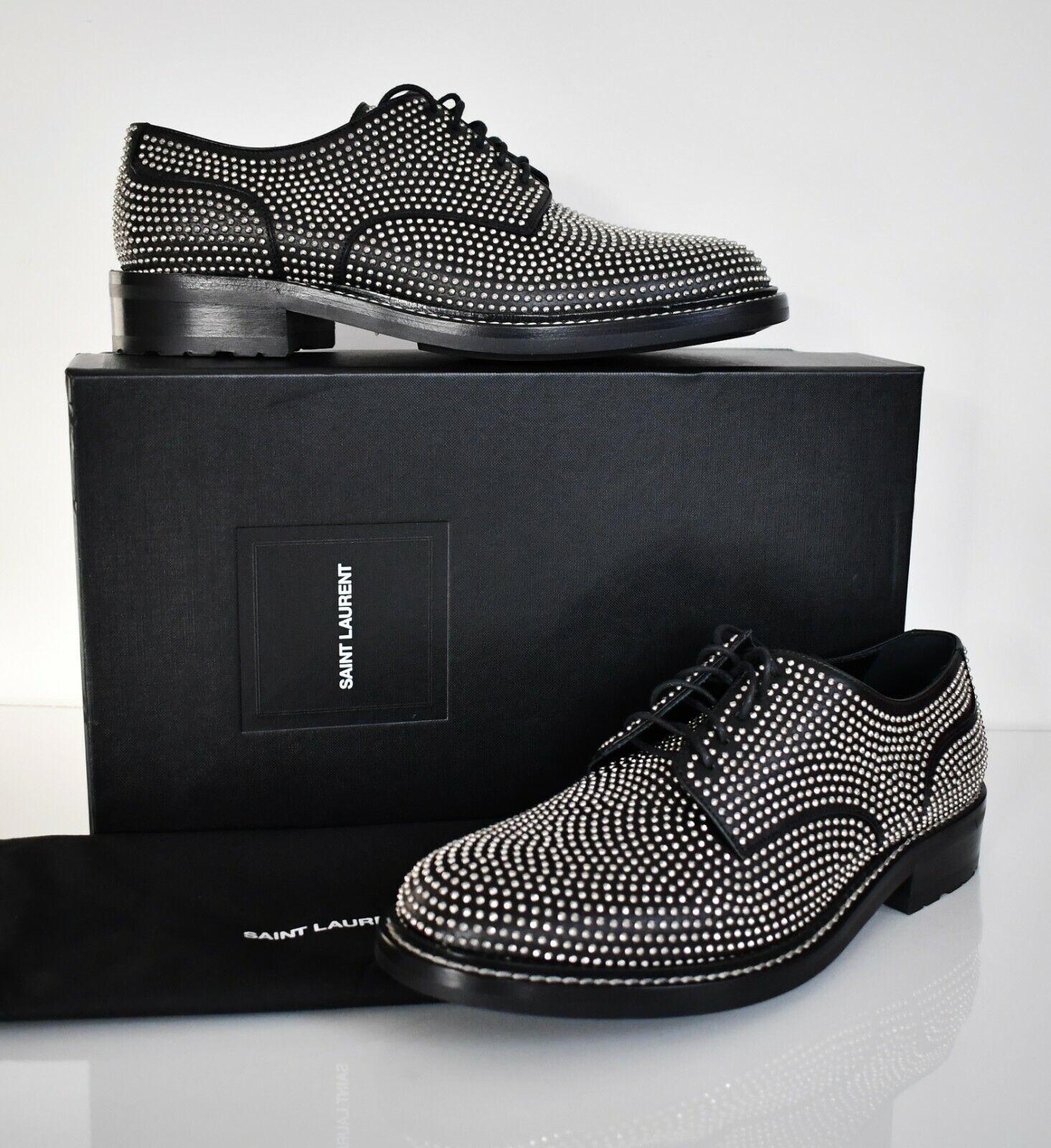 New SAINT LAURENT Paris Black WILLIAM 25 STUDDED DERBY Shoes EUR42 US9