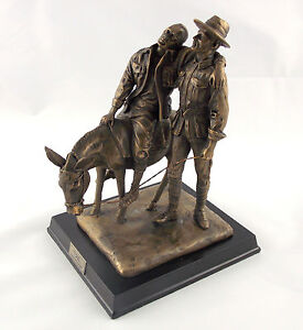 Silent Soldier Man with Donkey Statue Figurine Sculpture Bronze ANZAC Limited Ed