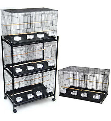 NEW Lot of Large 4 Bird Breeding Breeder Cages 30x18x18 With Stand BLK-469