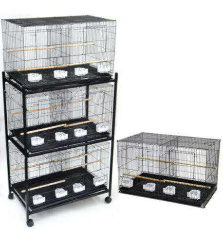"Lot of 4 Large 30"" Bird Breeding Flight Cage Center Divider 30x18x18""H WithStand"