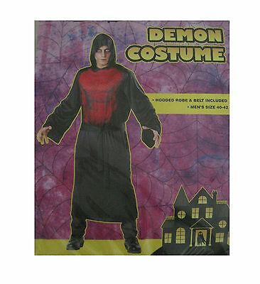 Demon Hooded Black Red Robe Devil Adult Mens Halloween Costume ()