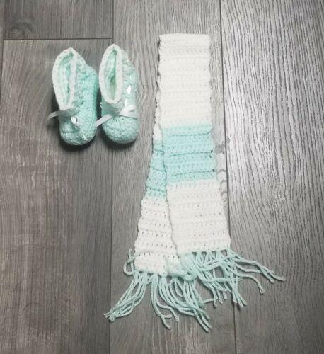 Handmade Baby Scarf and Booties - Light Green