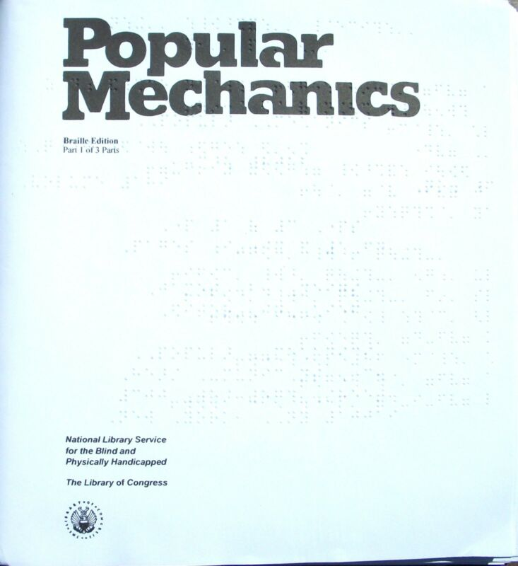 Popular Mechanics March 2016 (Braille) for the blind