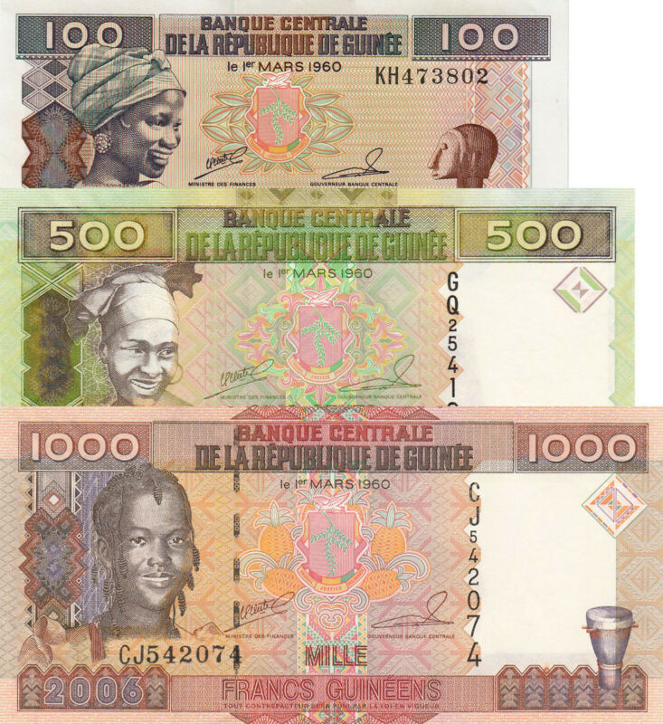 Guinea 3 Note Set: 100, 500 & 1000 Francs (1998/2006) p35a, p39a & p40