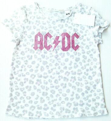 T-Shirt AC/DC Gr.134 /140 H&M NEU 100% Baumwolle weiß leo pink kinder...
