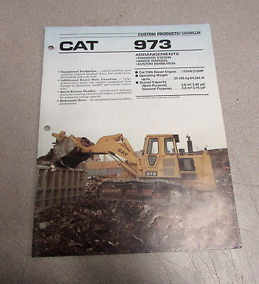 Cat Caterpillar 973 Loader Specification Brochure Manual Aehq7057 1988