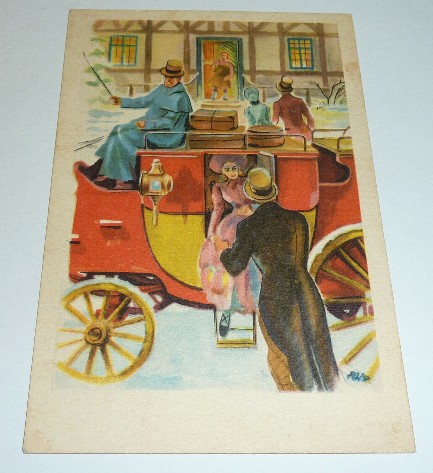Weihnachten 1950 Künstlerkarte Postkutsche Danmark Horsens Jul Vignette Dänemark