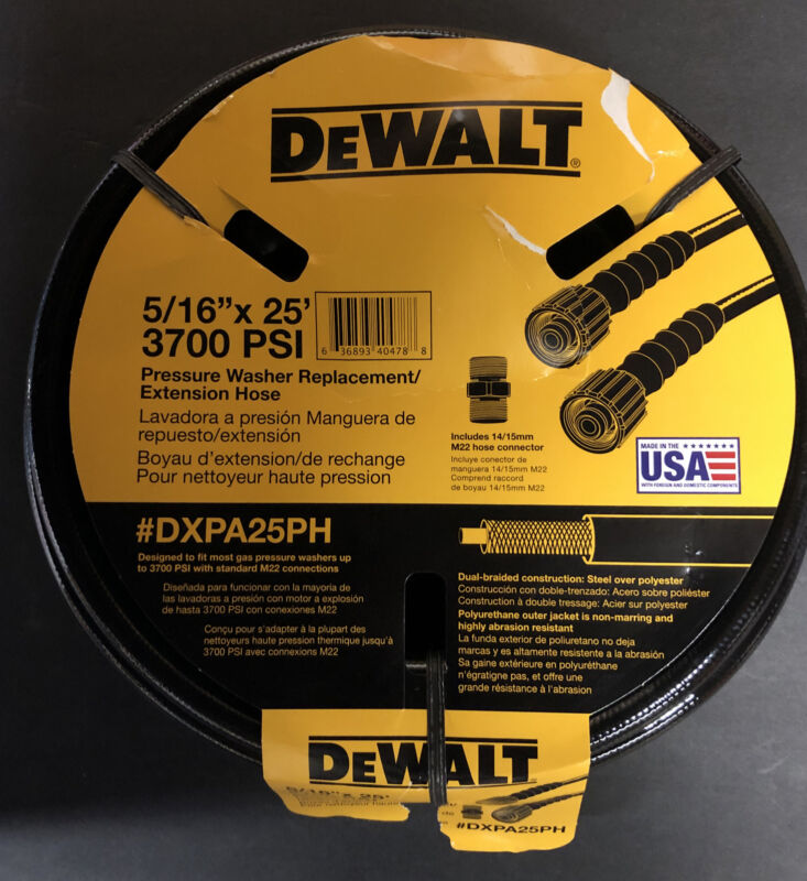"Dewalt Pressure Washer Replacement Extension Hose DXPA25PH -5/16"" x 25ft 3700psi"