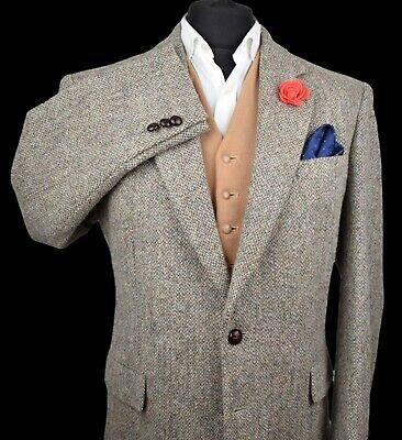 Harris Tweed Tailored Country Brown Blazer Jacket 44R FANTASTIC OATMEAL 173