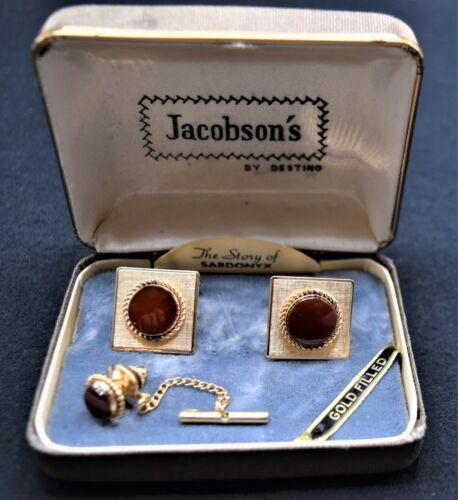 Vintage Destino 12K Gold Filled Sardonyx Cufflinks and Tie Clasp In Box EUC