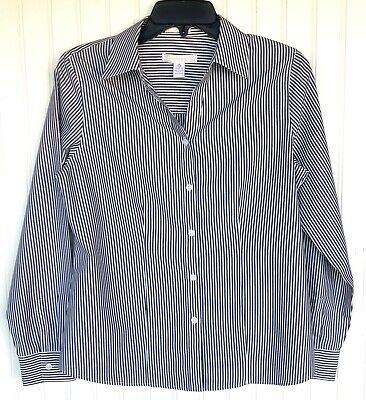 CHICO'S Sz 0 Button Up All Season Striped Shirt No-Iron Long Sleeve Black S 4-6 Season Long Sleeve Top