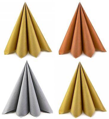 20 x kleine Papierservietten SILBER GOLD KUPFER 33 cm Servietten 3-lagig falten ()