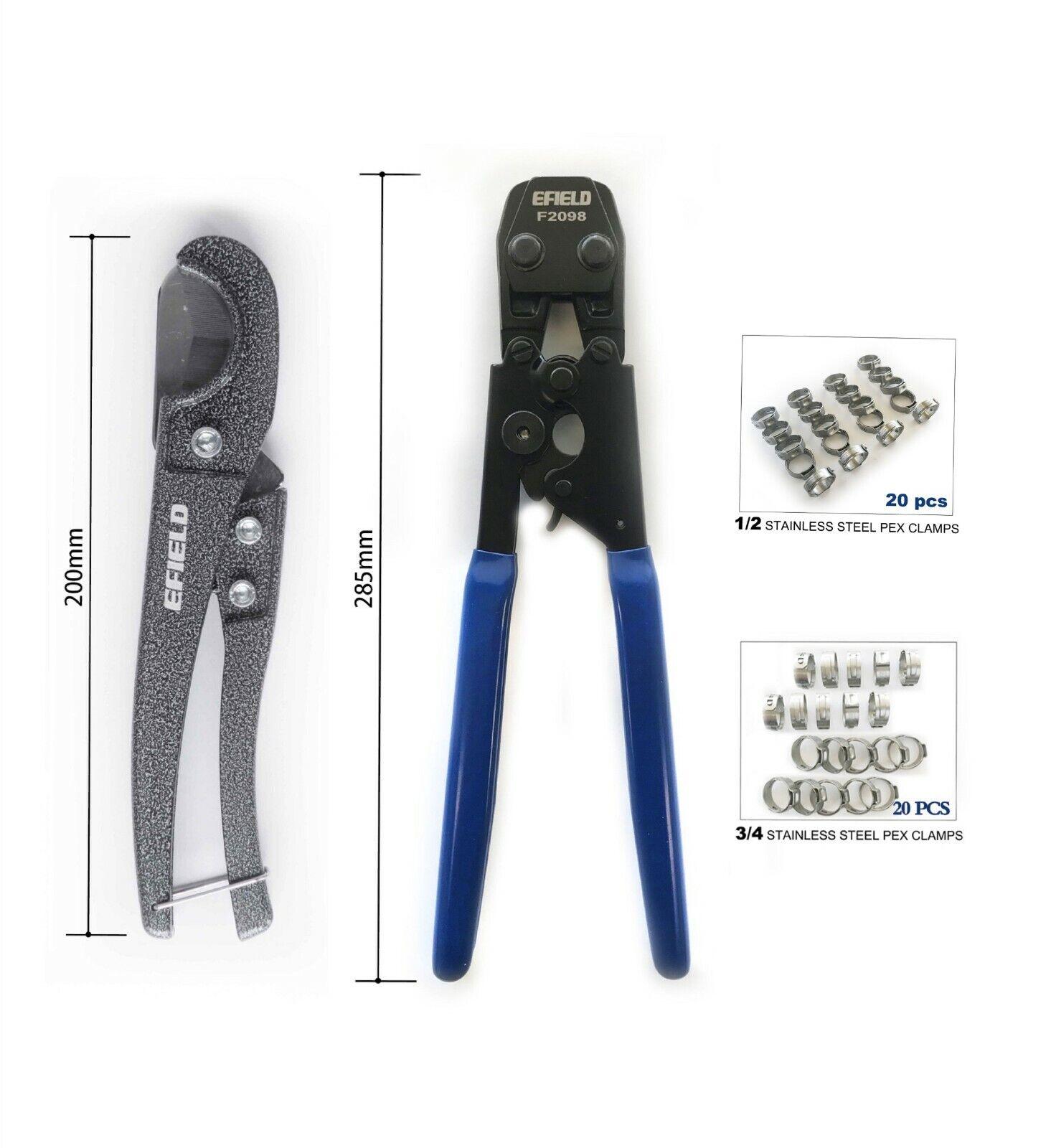 Pex Cinch Crimping Tool Kit, Pipe Cutter +40 Rings Cinch Cla
