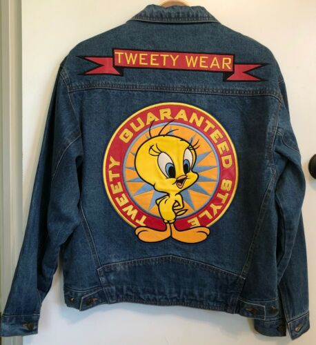 Looney Tunes Tweety Bird Womens Blue Jean Jacket Leather Embroidery Size Small