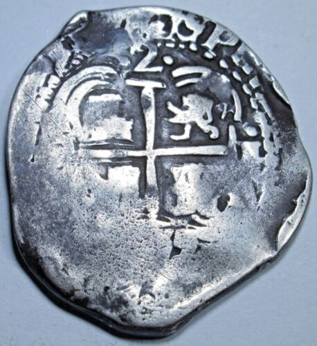 1655 VF Spanish Potosi Silver 2 Reales Cob Piece of 8 Real Colonial Pirate Coin