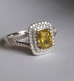 1.44 ct Fancy Yellow Colour Diamond Ring- Valued $12K