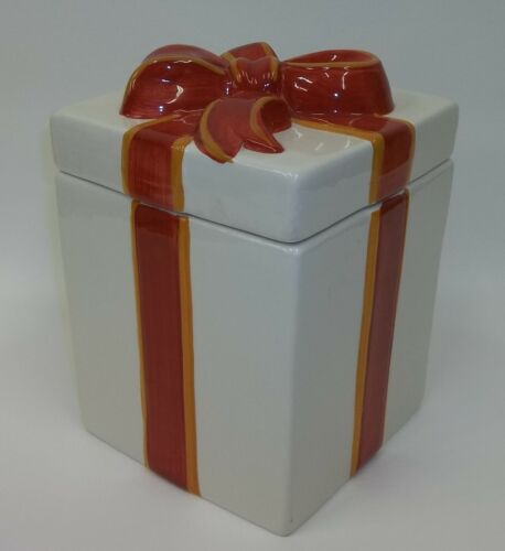 Gorgeous Ceramic Gift Wrapped Present Cookie Jar with Big Bow