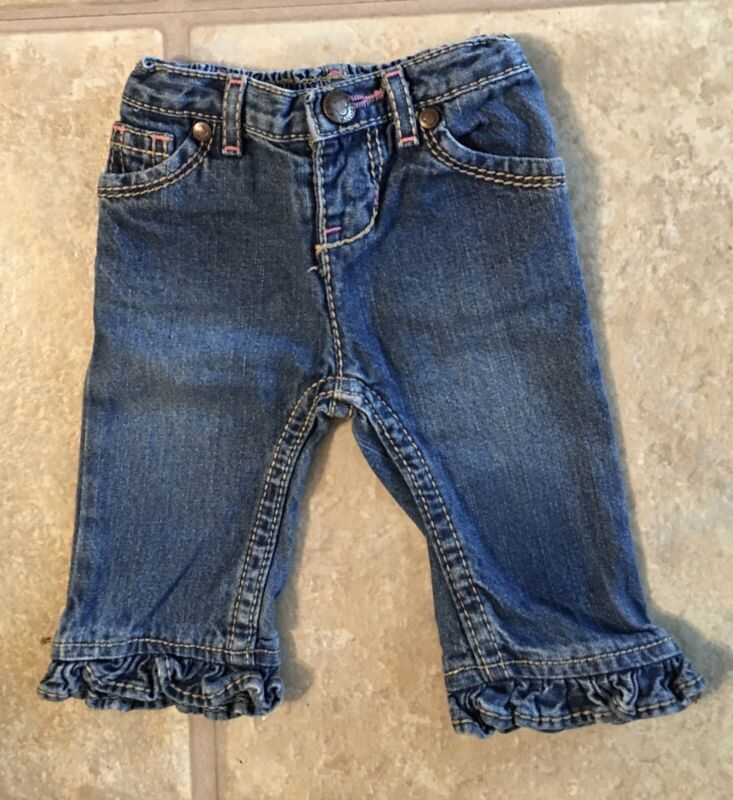 Arizona Girl's Size 3 Months Blue Denim Jeans Ruffled Hem