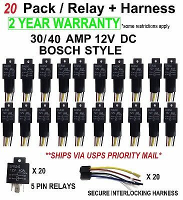 20 Sets Automotive Relay 5 Wire Harness Socket Car Vehicle 12v 3040 Amp Spdt