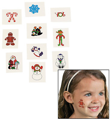 72 Christmas Holiday Glitter Temporary Tattoos (72 Pieces) 2
