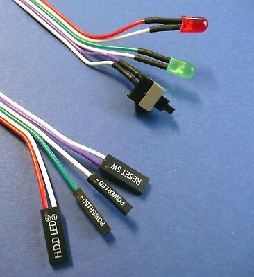Taster Power ON OFF Switch Reset Kabel mit LED Schalter ATX Mainboard PC Gehäuse