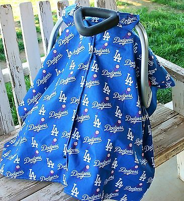 baby canopy cover for infant car seat w/ or w/out open dodgers and royal blue (Car Seat Covers For Graco Infant Car Seats)